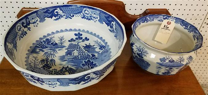 """VICT MASONS IRONSTONE TRANSFER WARE WILLOW BOWL 5 1/2""""H"""