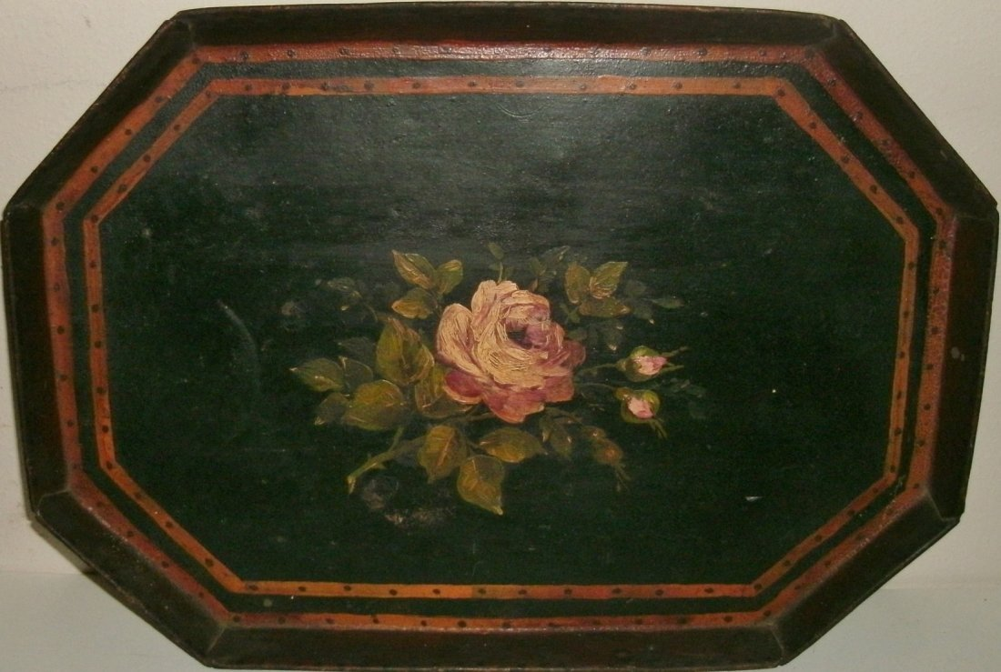 19TH C Octagonal Shaped Hand Painted Toleware Tray