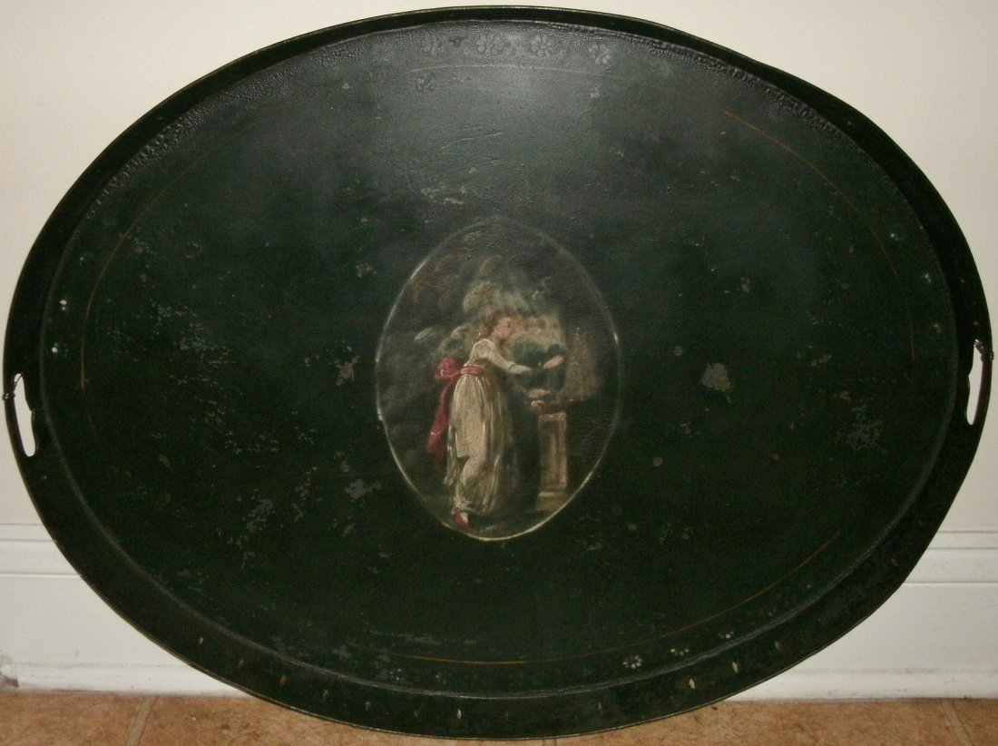 19TH C. Oval Hand Painted Toleware Tray Mourning Scene