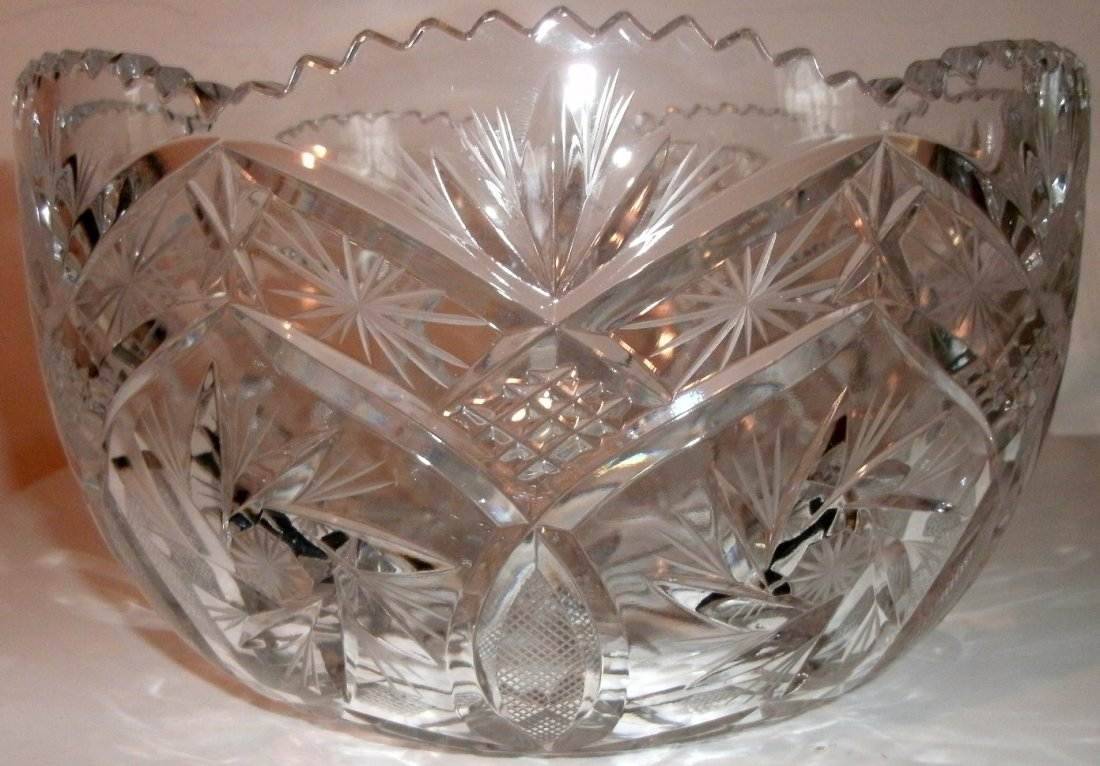 "9"" Brilliant Period Cut Glass Bowl - Sawtooth Border"