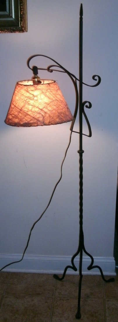 Wrought Iron Gothic Arts Crafts Bridge Lamp