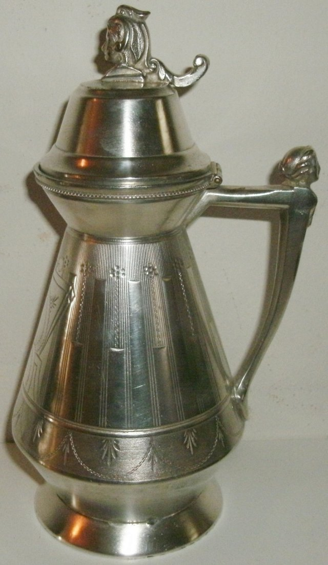 19th C Victorian Silverplate Syrup Pitcher - Figural
