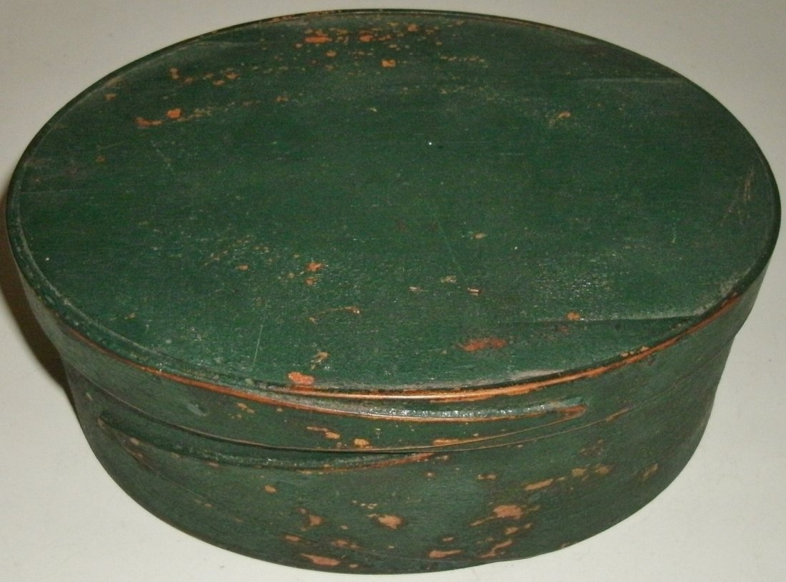 19TH C Oval Shaker Harvard Type Pantry Box Early Paint