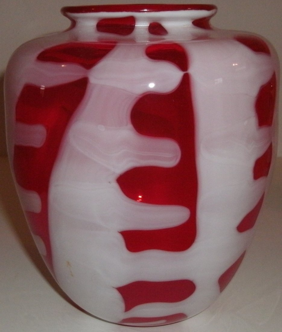 MidCentury Modern Red White Art Glass Vase Signed Smith