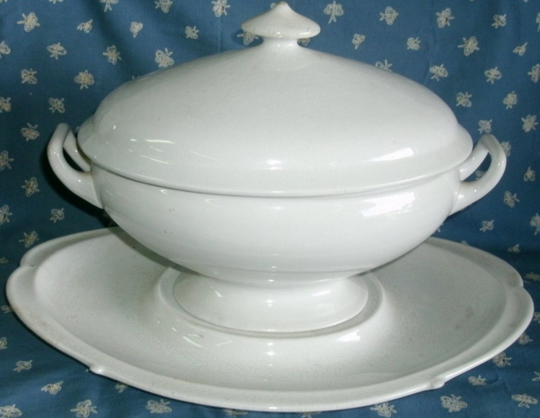 Antique White Ironstone Tureen, Lid, Underplate