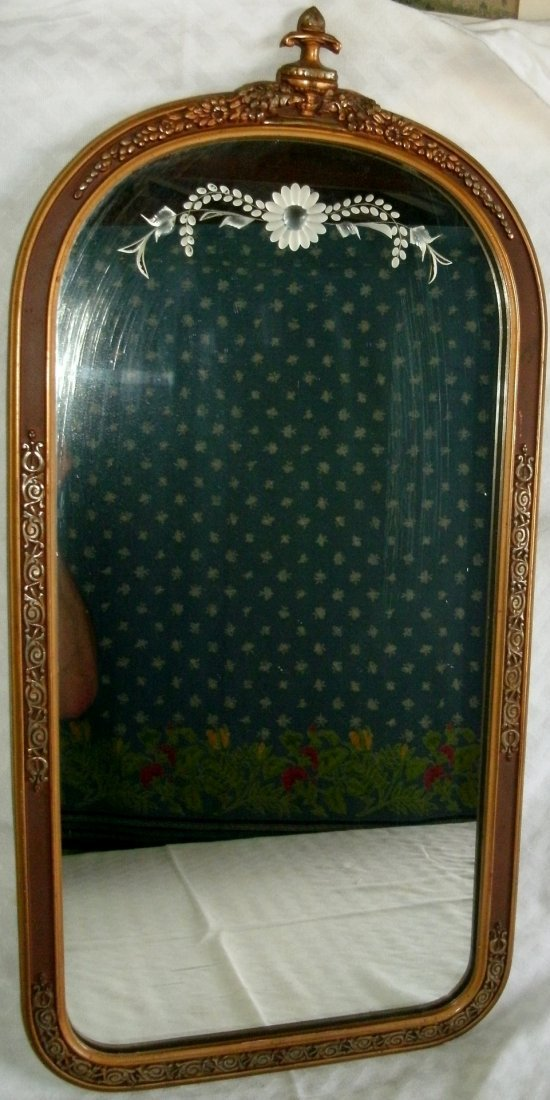 Vintage Embossed Art Deco Frame w/ Etched Cut Mirror