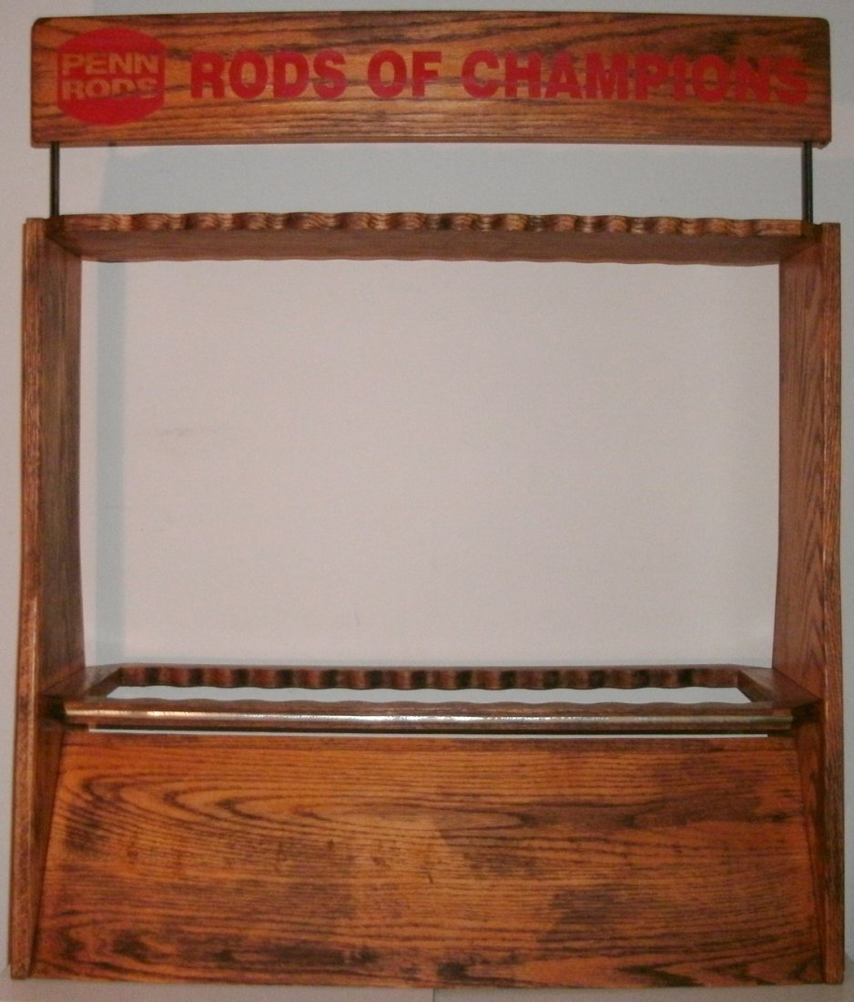 Vintage Solid Oak Penn Rods Fishing Rod Store Display - 2