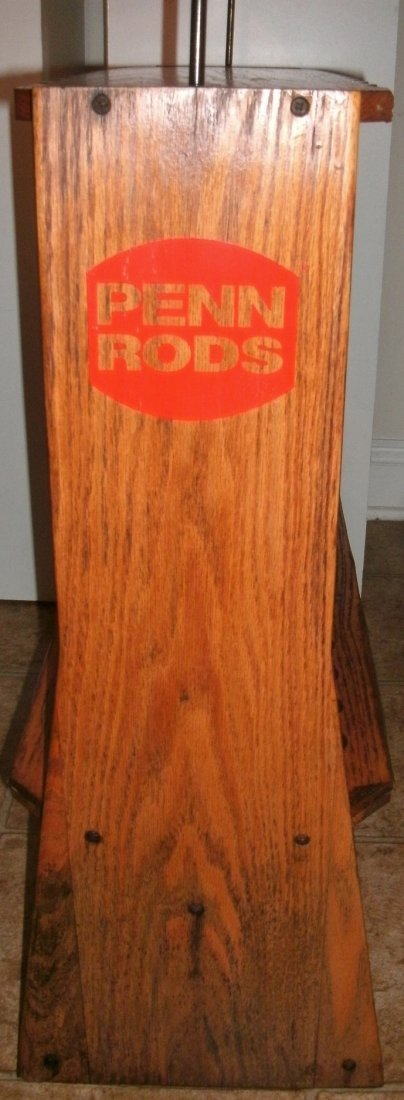 Vintage Solid Oak Penn Rods Fishing Rod Store Display - 3