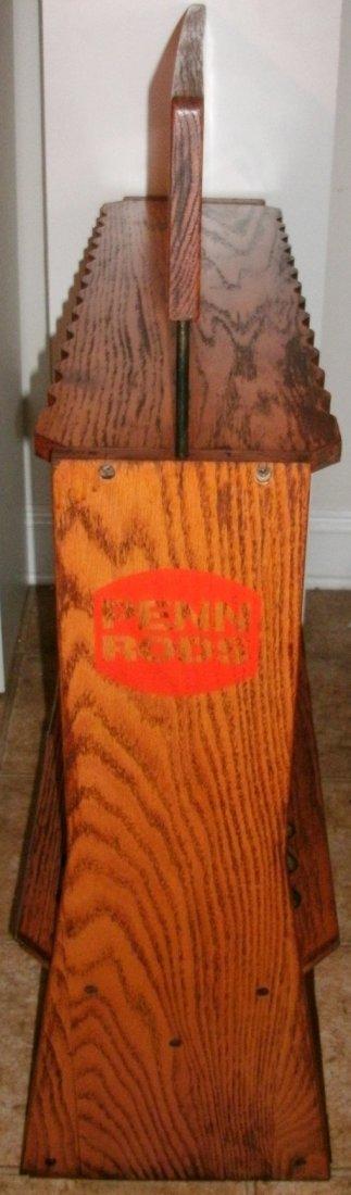 Vintage Solid Oak Penn Rods Fishing Rod Store Display - 8