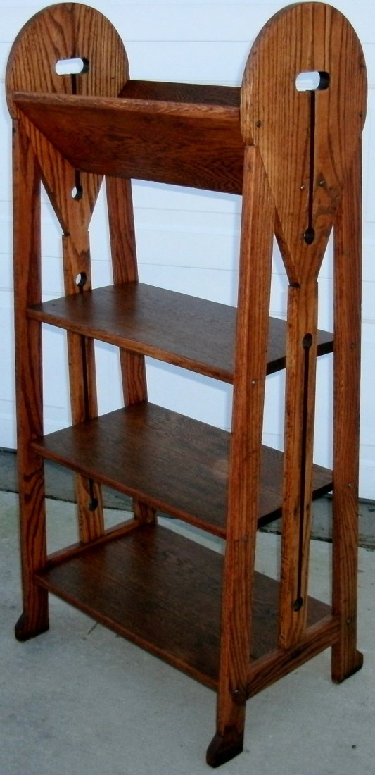 Mission Oak Arts Crafts Roycroft Stickley Era Bookshelf