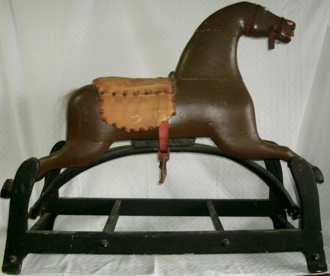 19th C Carved Wooden Folk Art Rocking Horse on Stand