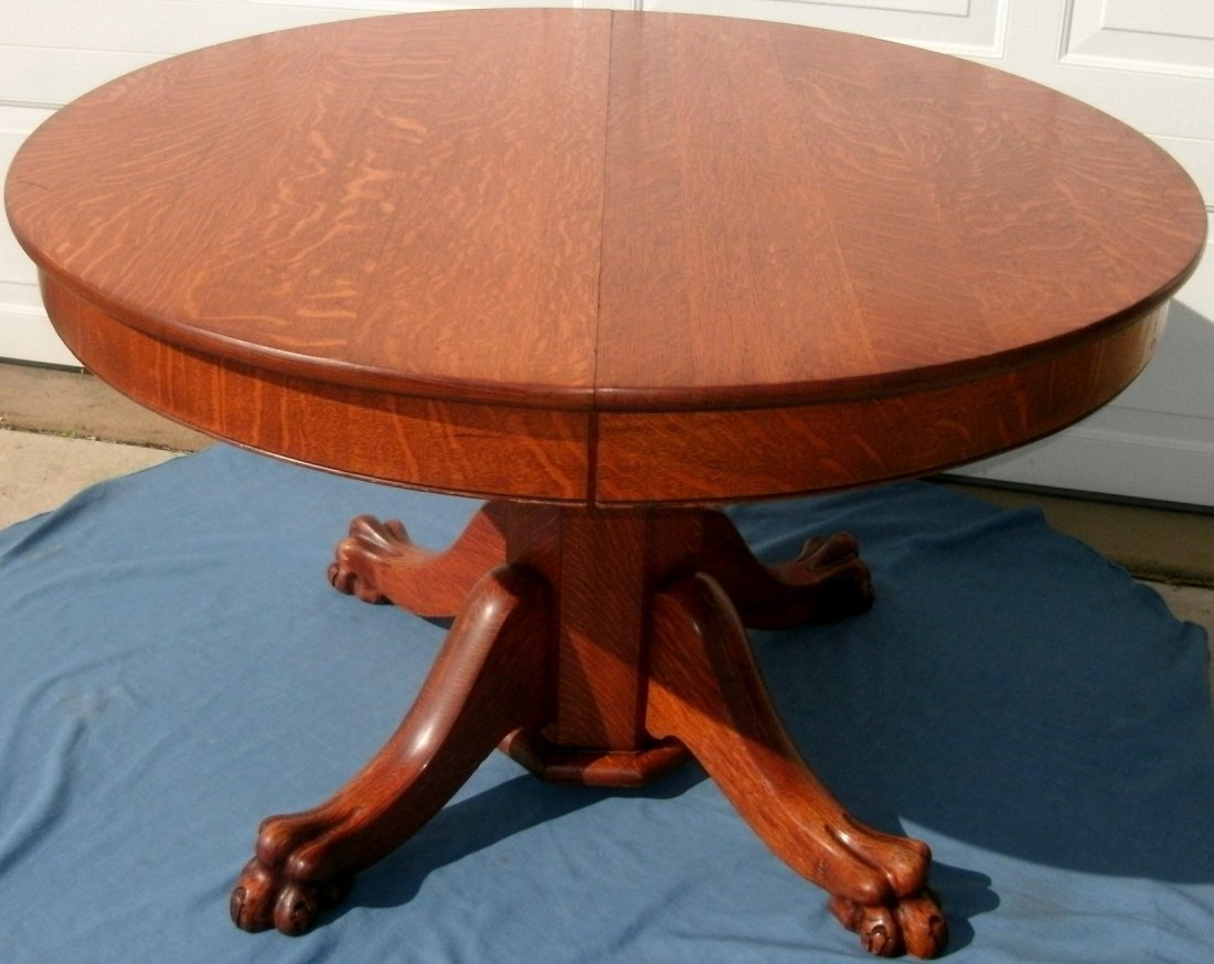 Round Tiger Oak Dining table Lion Paw Feet