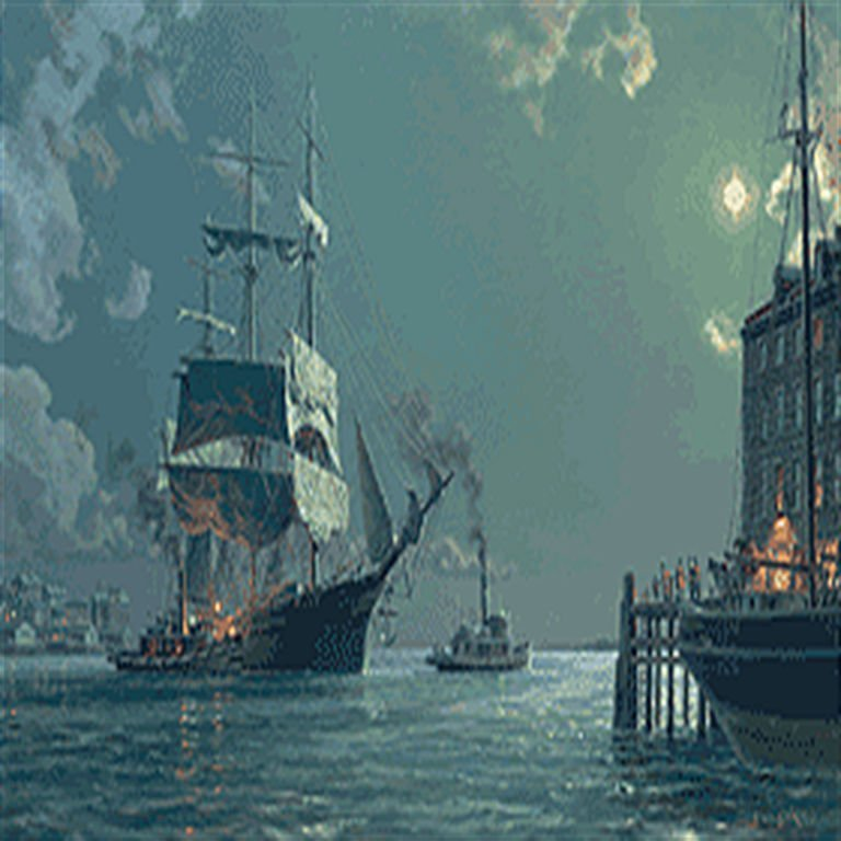 BOSTON  Departure. Securing the Towline c. 1885