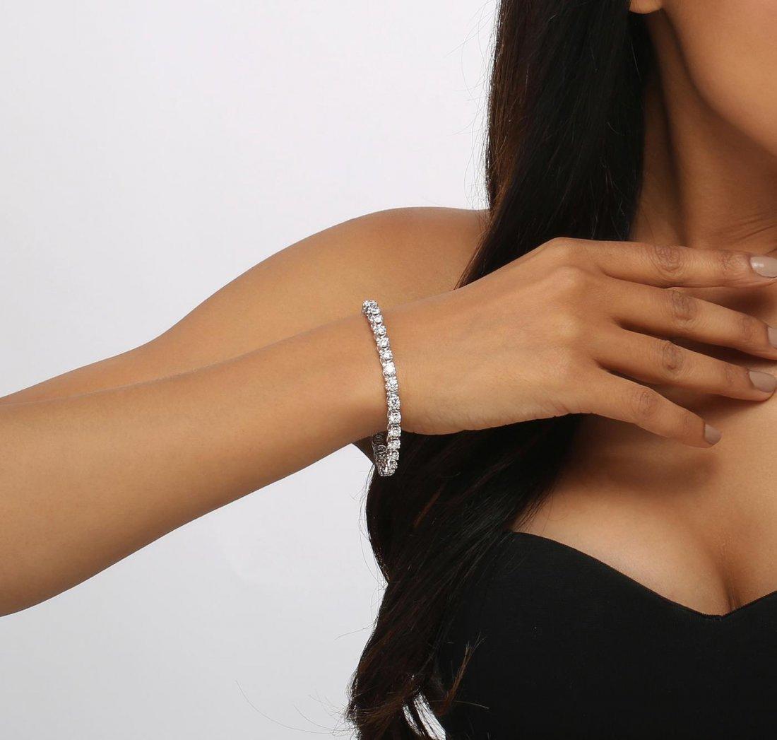 14KT White Gold 6.43ctw Diamond Tennis  Bracelet