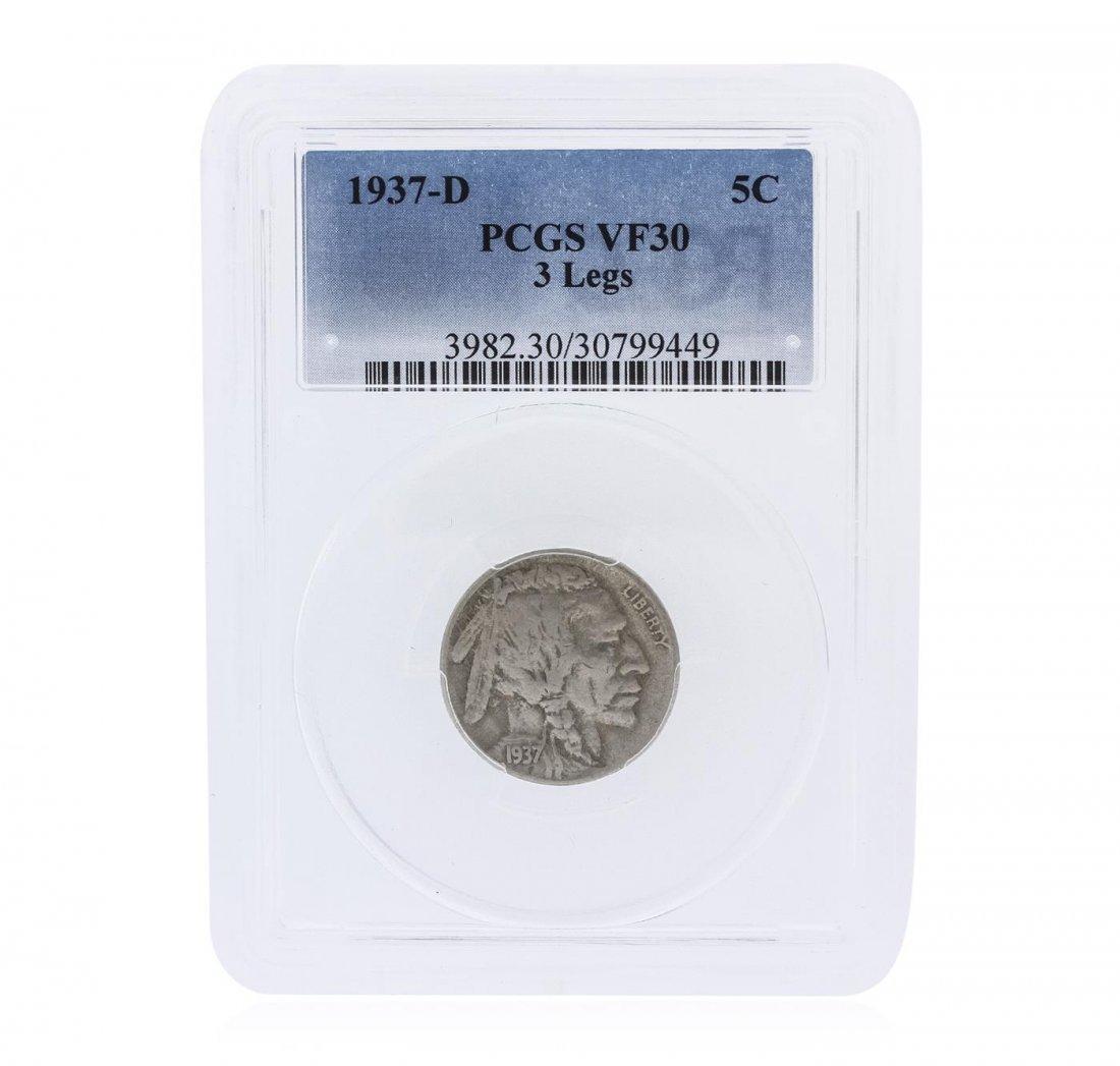 "RARE 1937-D 5 cent ""3 Legs"" Buffalo Nickel Coin PCGS"
