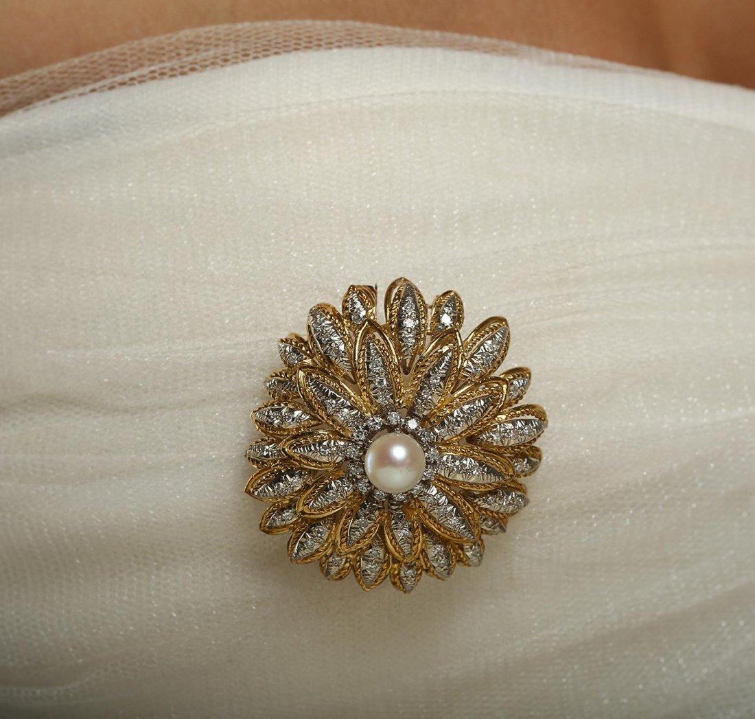 14KT Yellow Gold 1.15ctw Diamond Vintage Pin