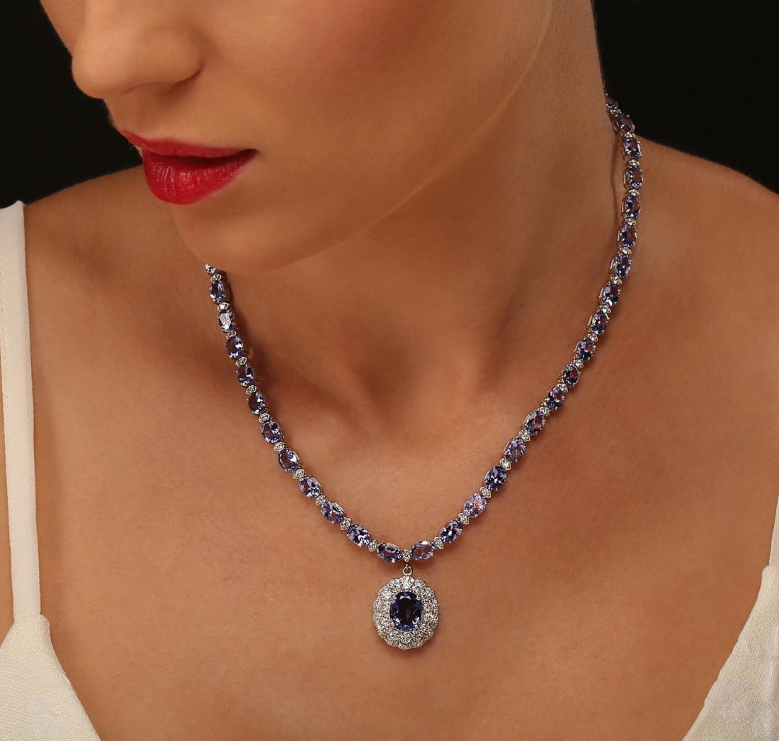 14KT White Gold 31.96ctw Tanzanite and Diamond Necklace