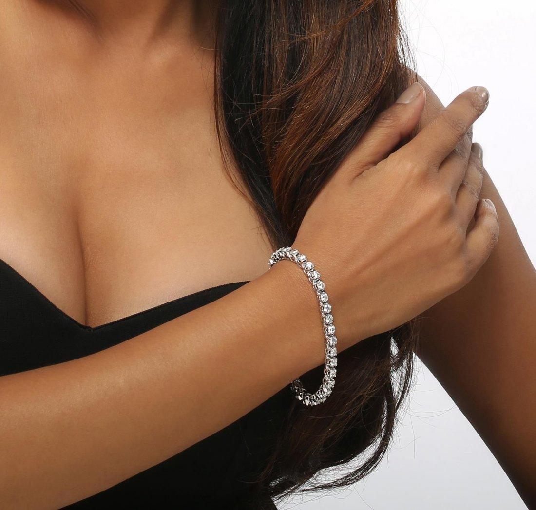 14KT White Gold 6.98ctw Diamond Tennis  Bracelet