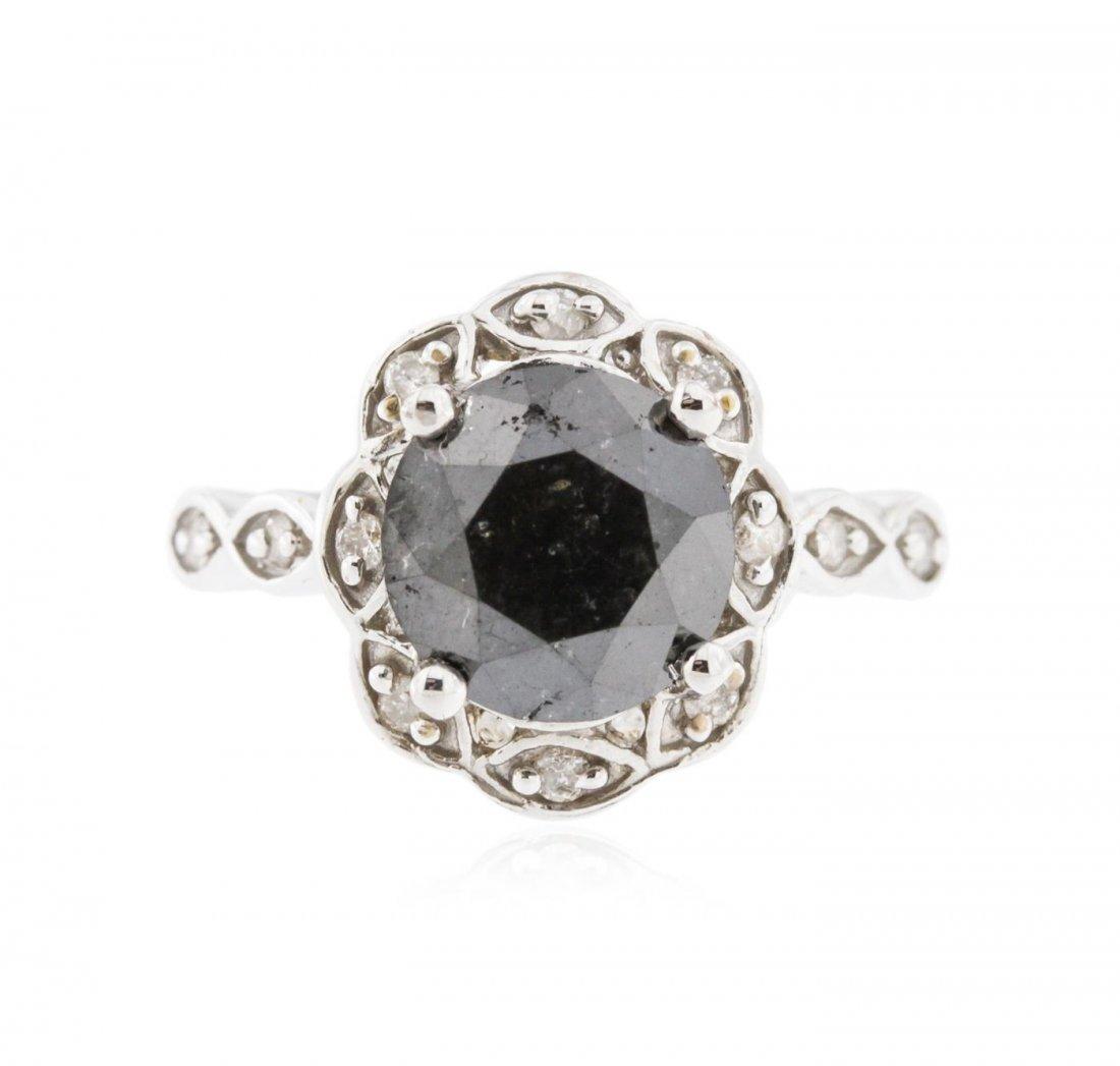 14KT White Gold 3.68ct Black Diamond Ring
