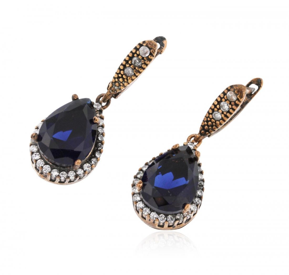 SILVER 21.12ctw Blue Crystal and Cubic Zirconia