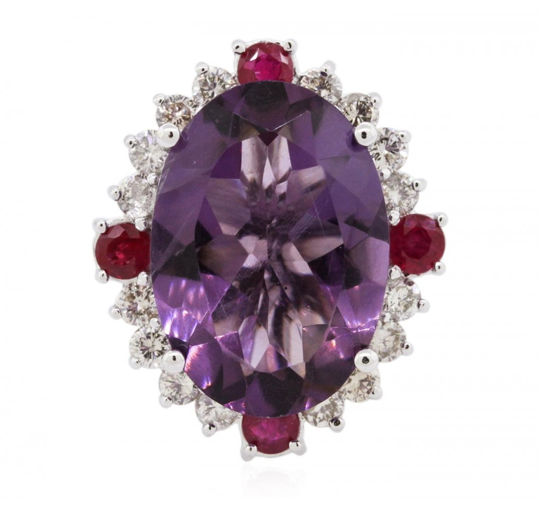 14KT White Gold 9.01ct Amethyst, Ruby and Diamond Ring