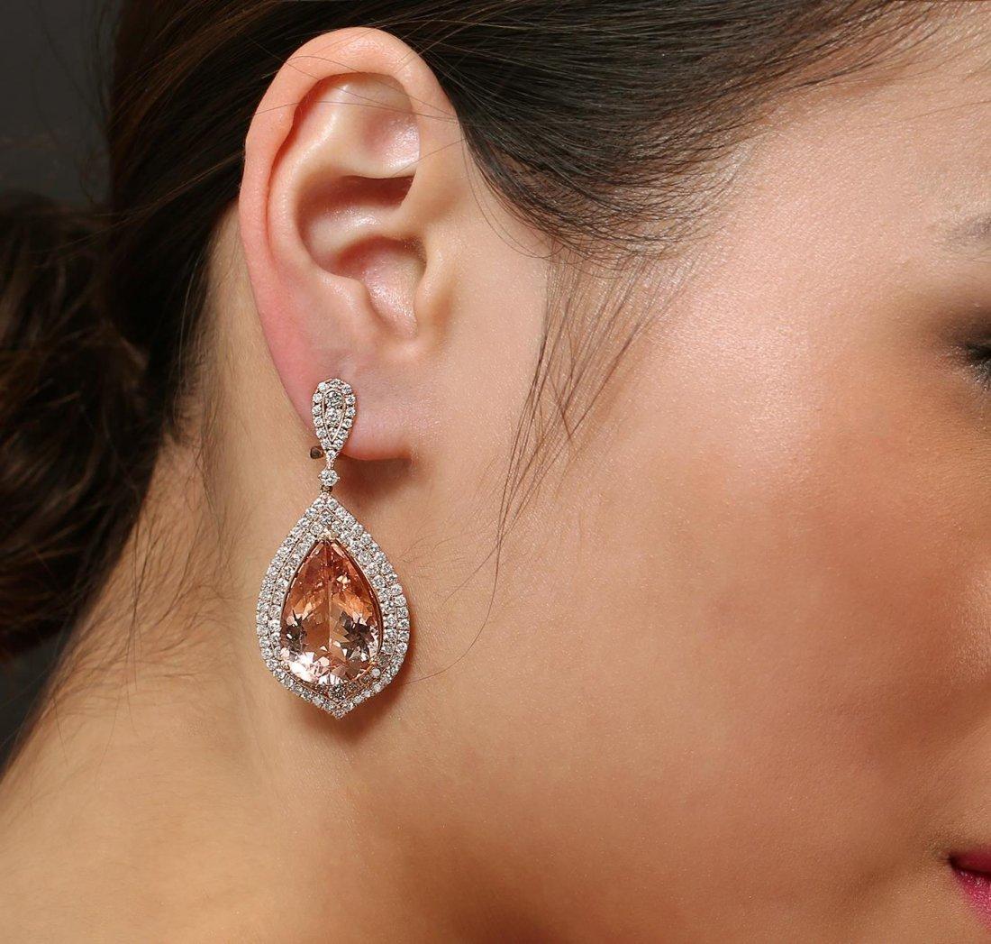 14KT Rose Gold 24.62 Morganite and Diamond Earrings
