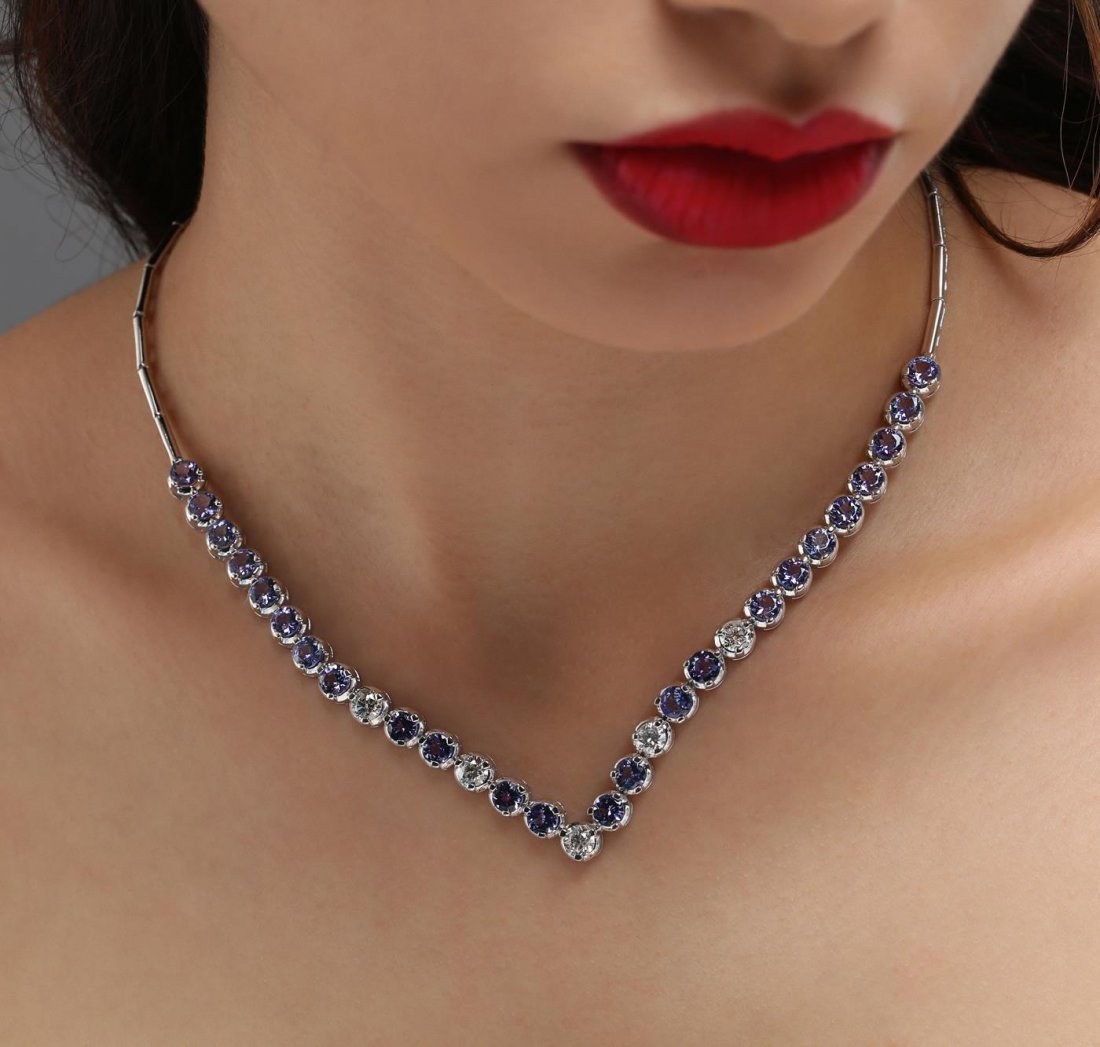 14KT White Gold 10.56ctw Tanzanite and Diamond Necklace