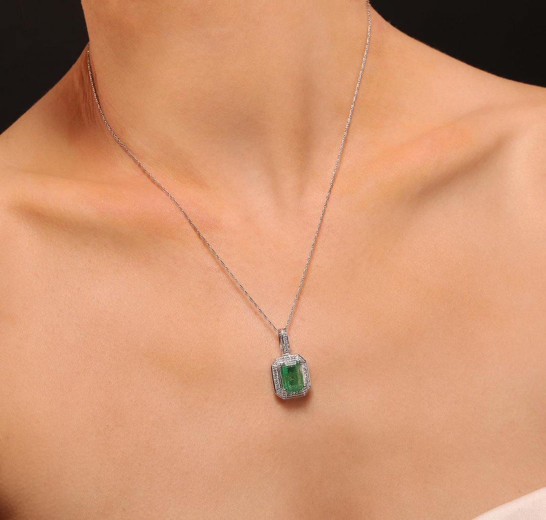 14KT White Gold 3.76ct Emerald and Diamond Pendant With