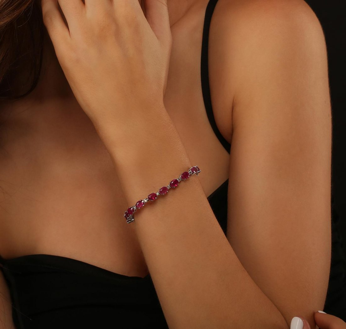 14KT White Gold 18.18ctw Ruby and Diamond Bracelet