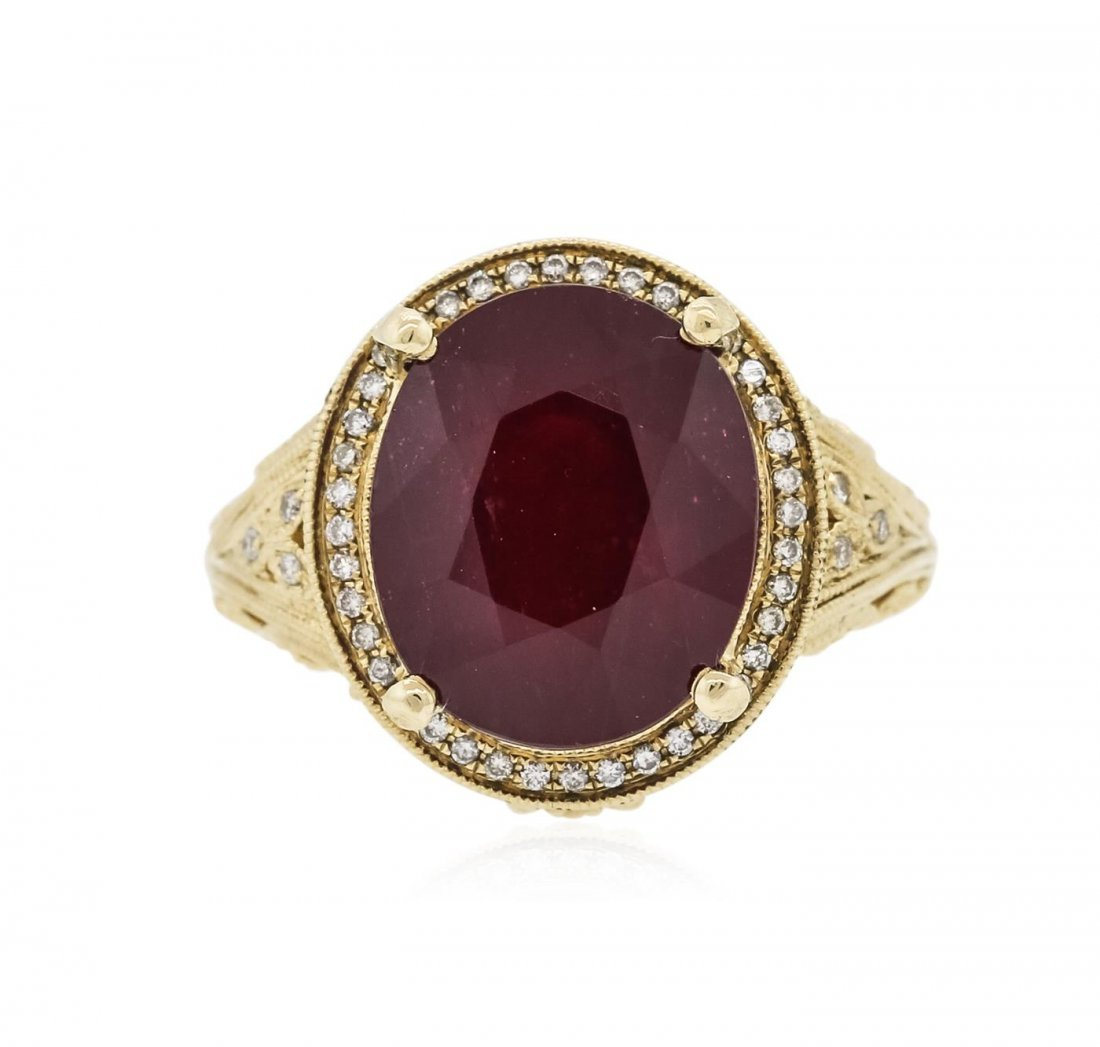 14KT Yellow Gold 9.17 ctw Ruby and Diamond Ring