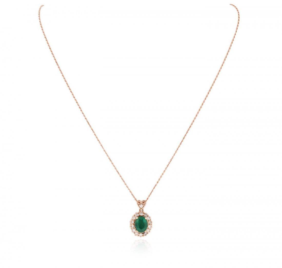 14KT Rose Gold 2.28 ctw Emerald and Diamond Pendant