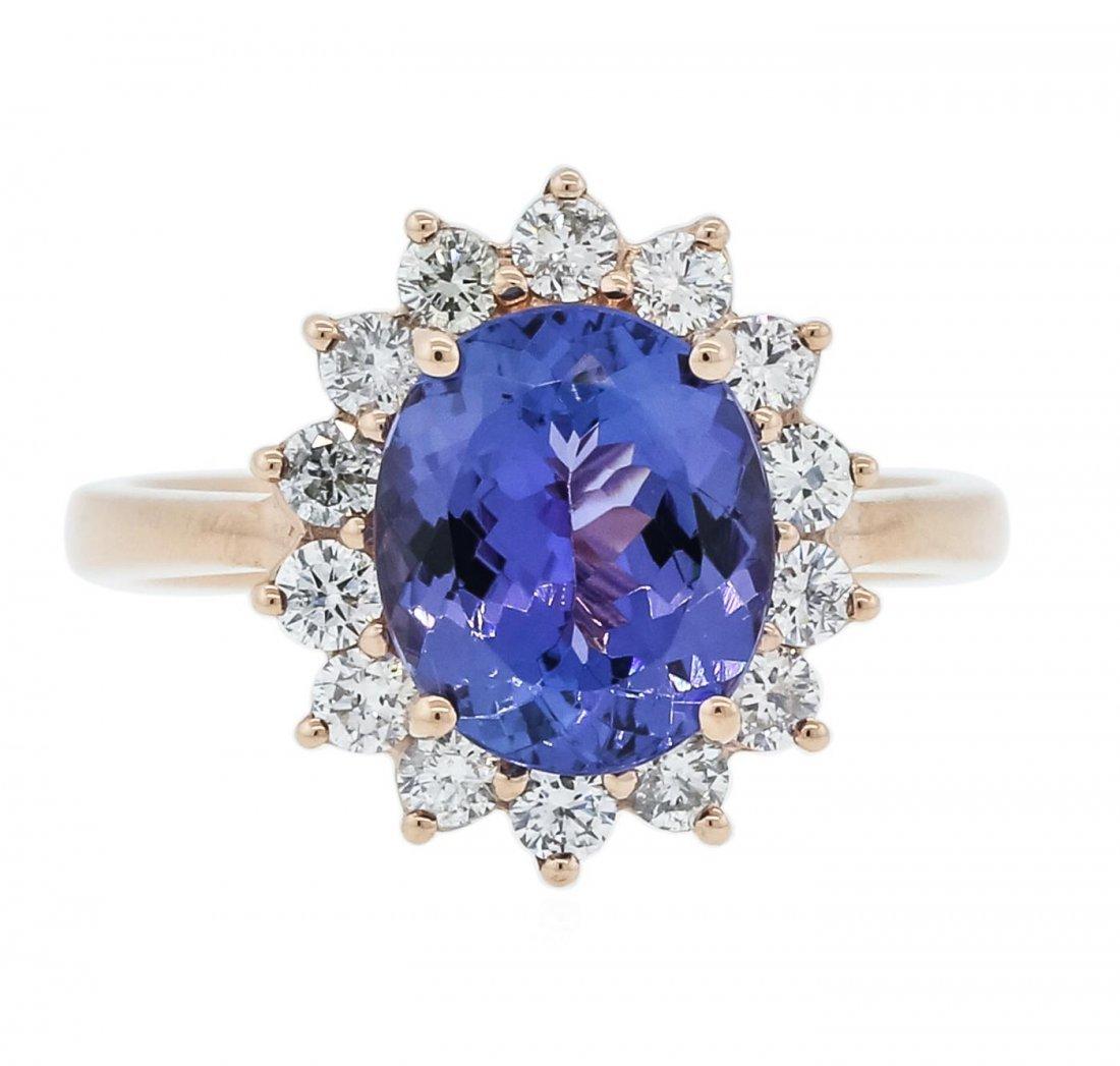 14KT Rose Gold 2.63 ctw Tanzanite and Diamond Ring