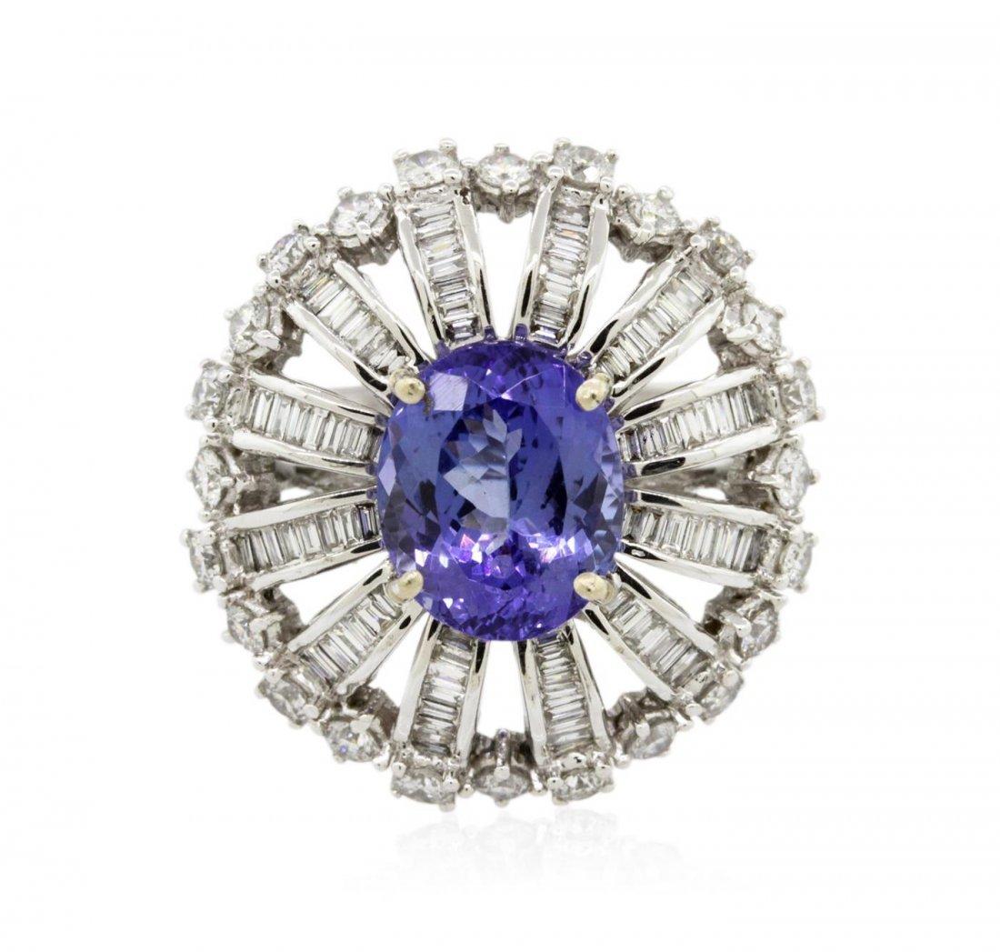 18KT White Gold 3.11 ctw Tanzanite and Diamond Ring