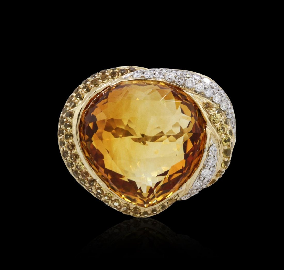 14KT Yellow Gold 14.22 ctw Citrine, Sapphire and