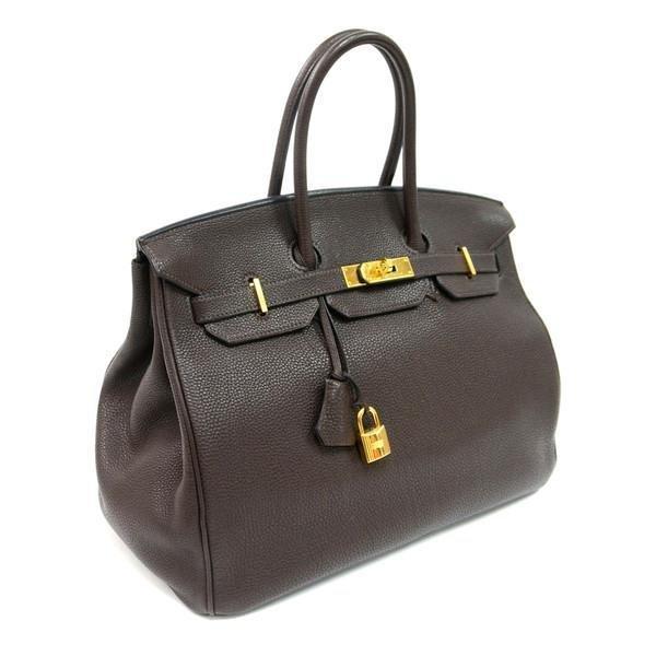 Authentic Vintage Hermes 35cm Birkin Bag in Chocolate