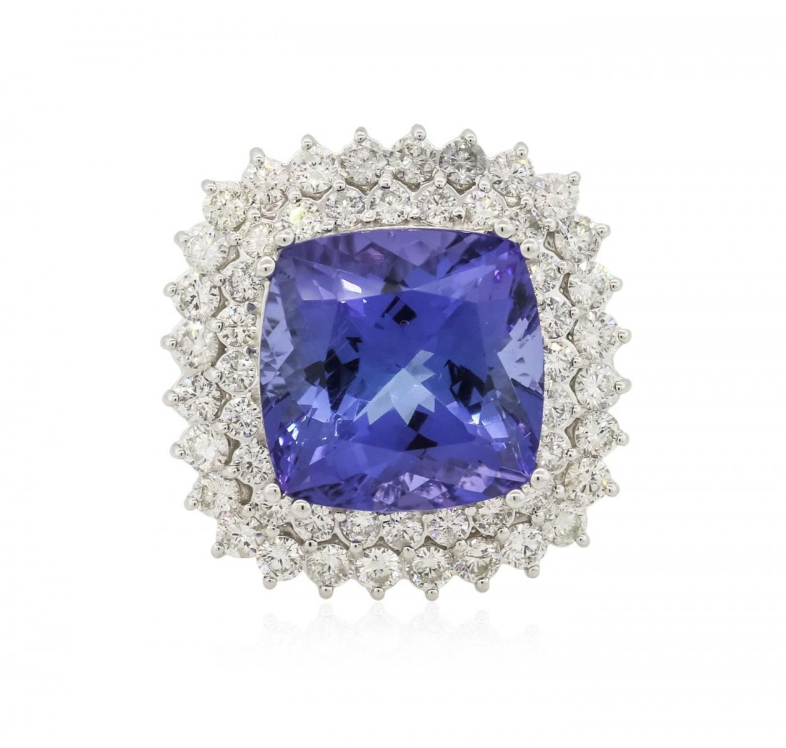 14KT White Gold GIA Certified 14.80 ctw Tanzanite and