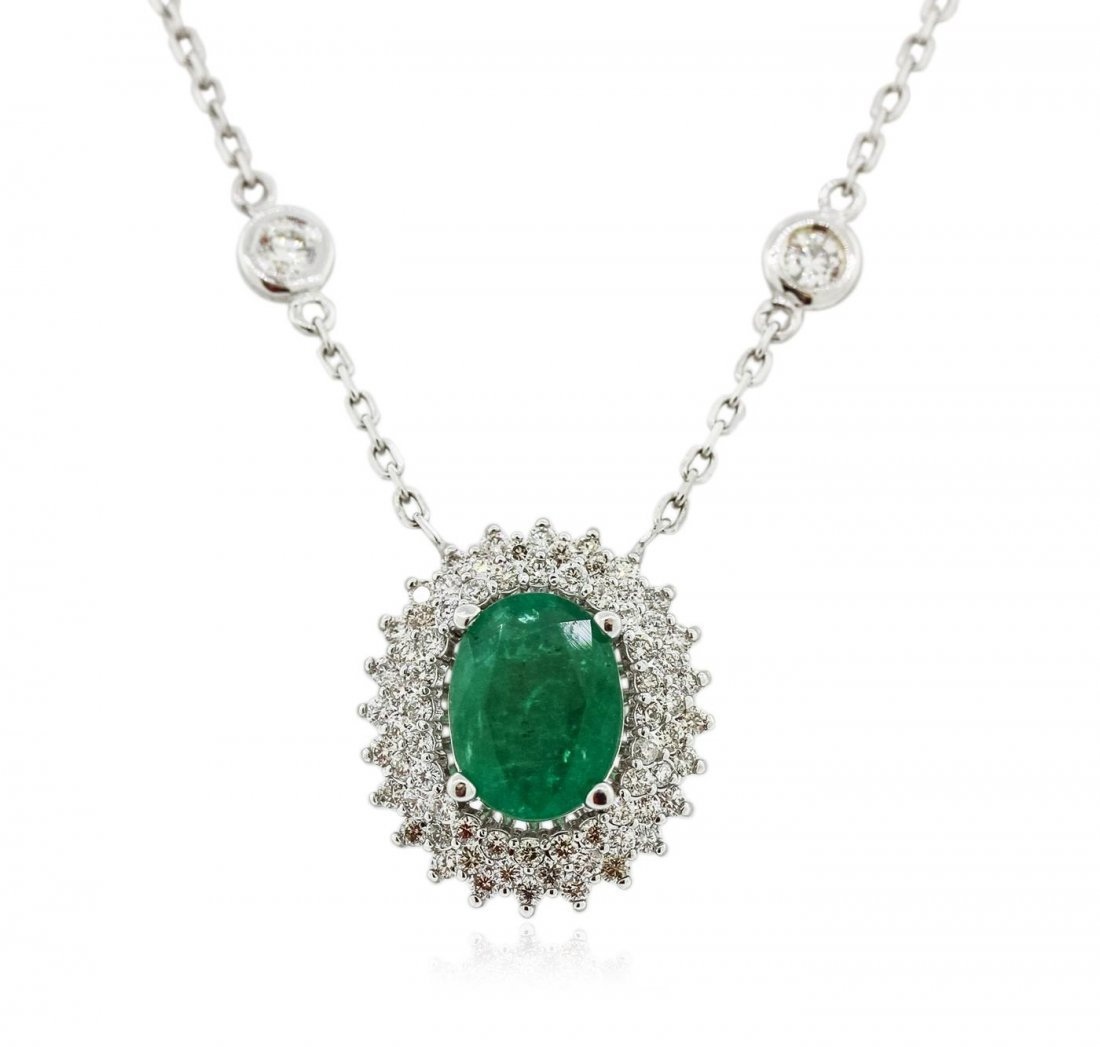 14KT White Gold 1.18 ctw Emerald and Diamond Necklace