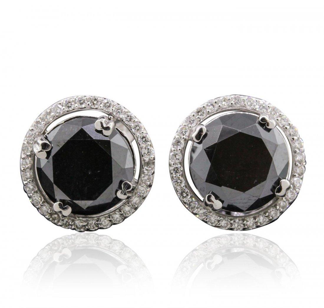 14KT White Gold 6.27 ctw Black Diamond and Diamond