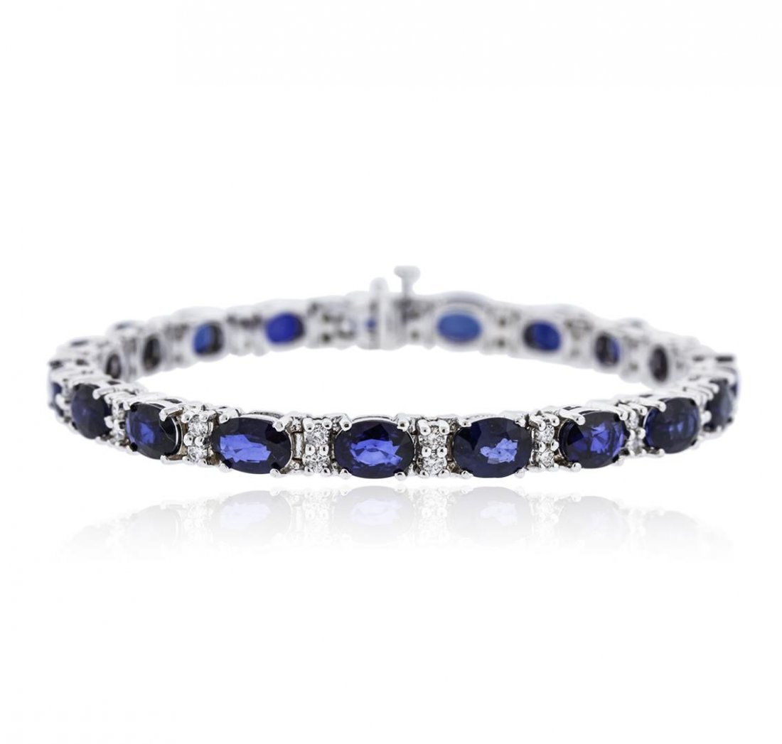 14KT White Gold 16.15 ctw Sapphire and Diamond Bracelet