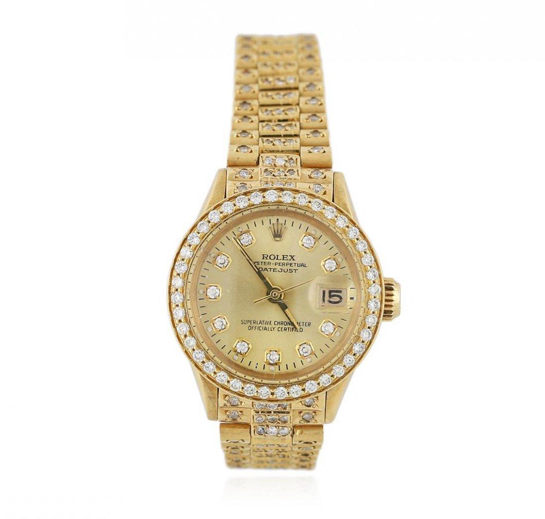 Ladies Rolex 18KT Yellow Gold 3.30 ctw Diamond DateJust
