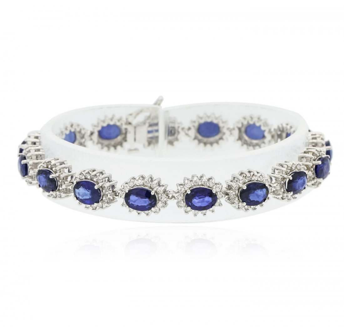 14KT White Gold 12.96 ctw Sapphire and Diamond Bracelet