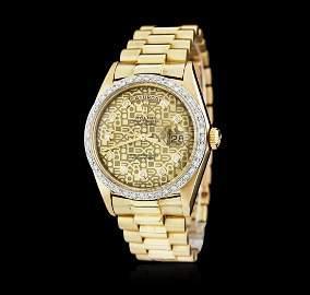 Gents Rolex DayDate 18KT Yellow Gold 0.56 ctw Diamond