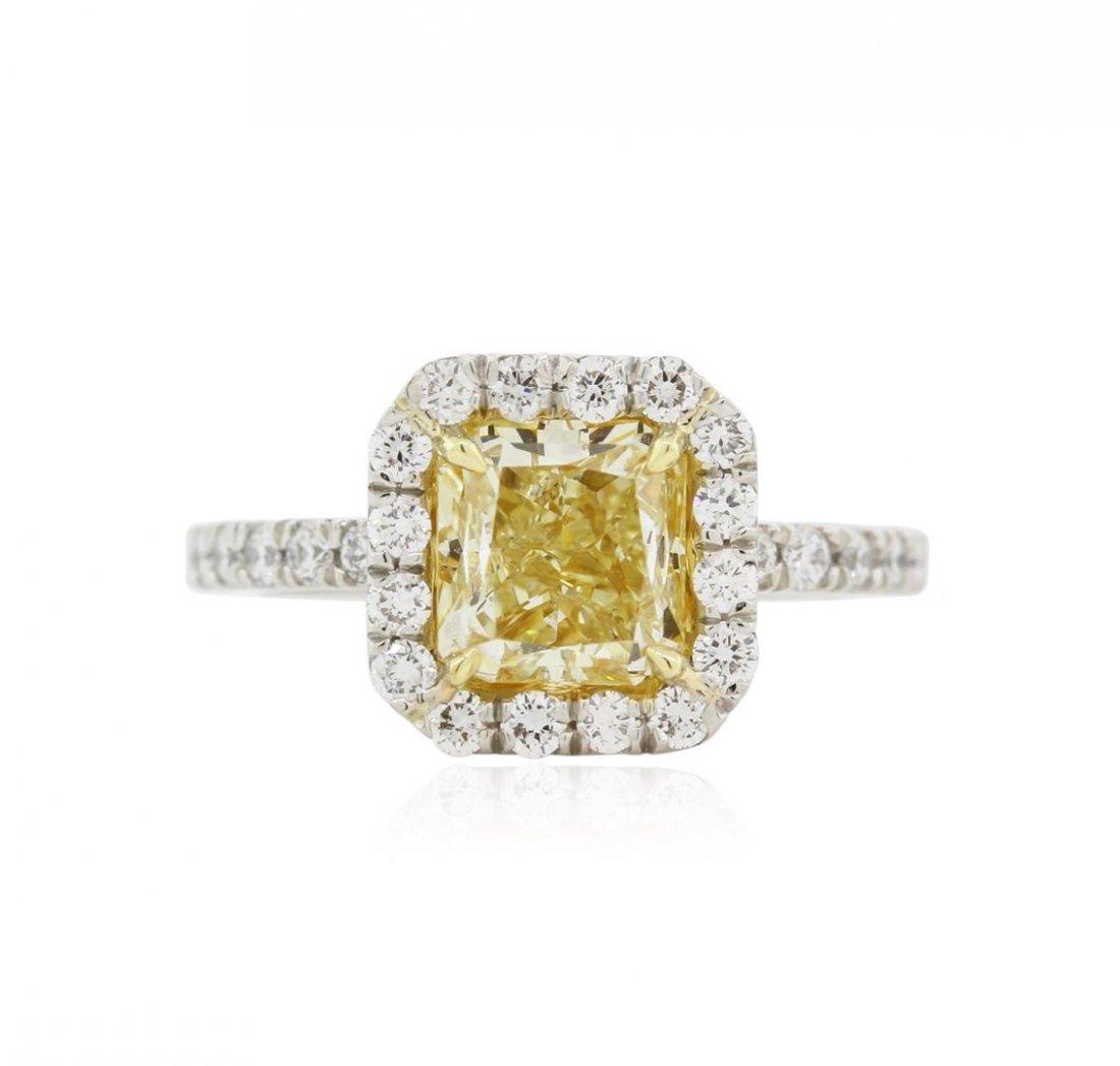 Platinum EGL USA Certified 2.77 ctw Fancy Yellow
