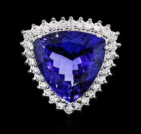 14KT White Gold GIA Certified 17.35 ctw Tanzanite and