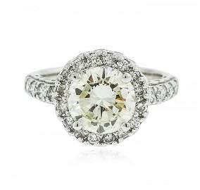 14KT White Gold 2.22 ctw SI-1/Light Yellow Diamond Ring