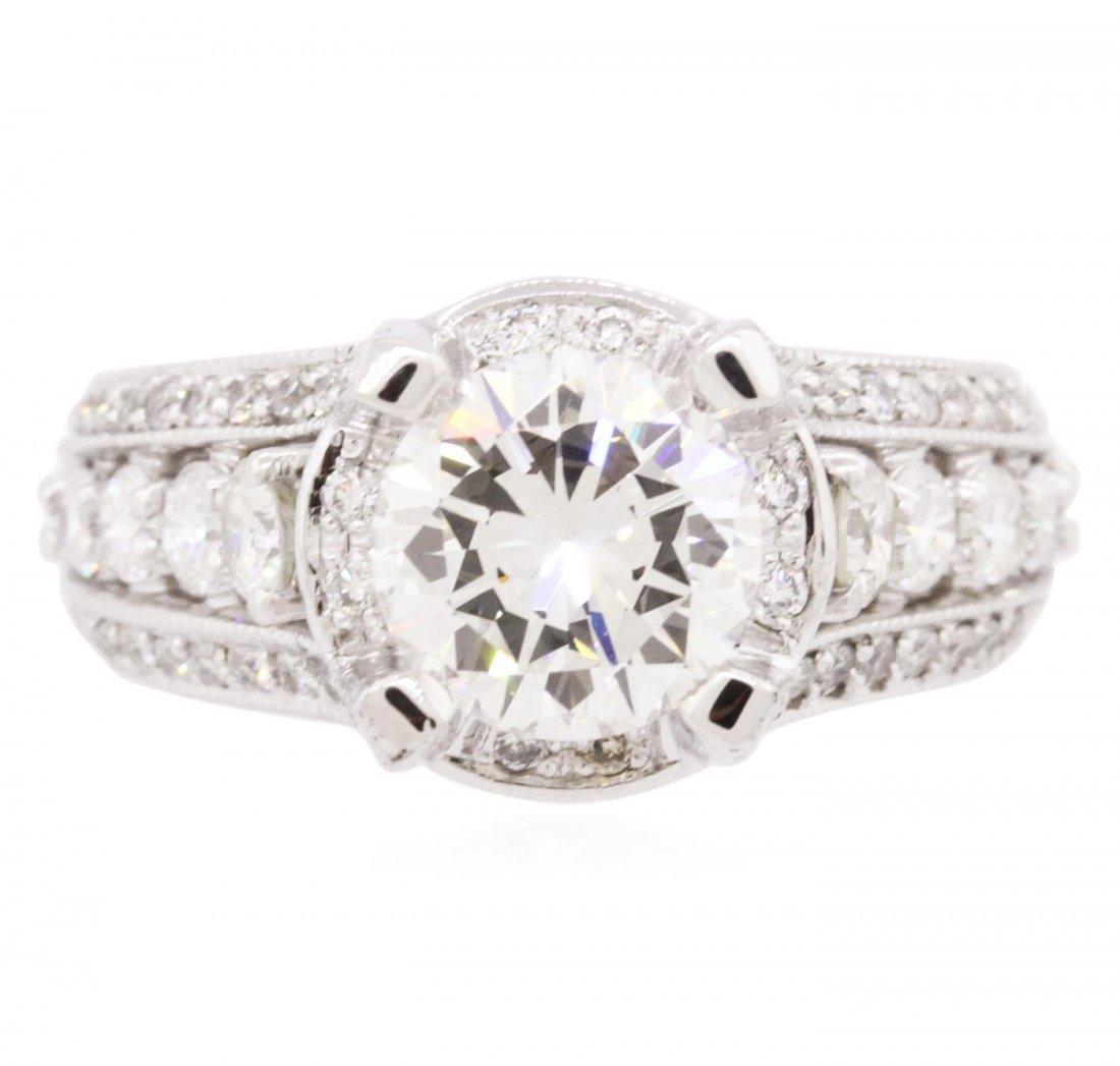 14KT White Gold EGL Certified 3.12 ctw Diamond Ring
