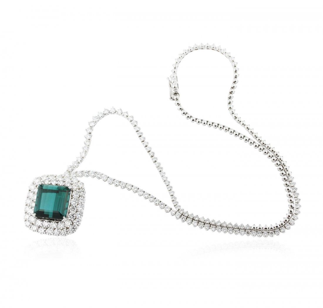 18KT White Gold 15.54 ctw GIA Certified Tourmaline and