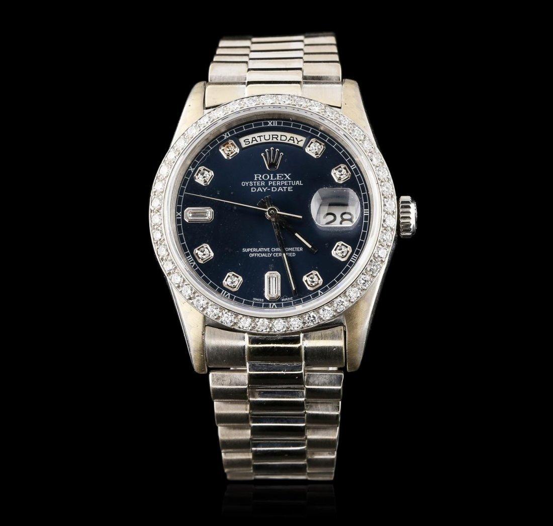 Gents Rolex 18KT White Gold 1.32 ctw Diamond DayDate