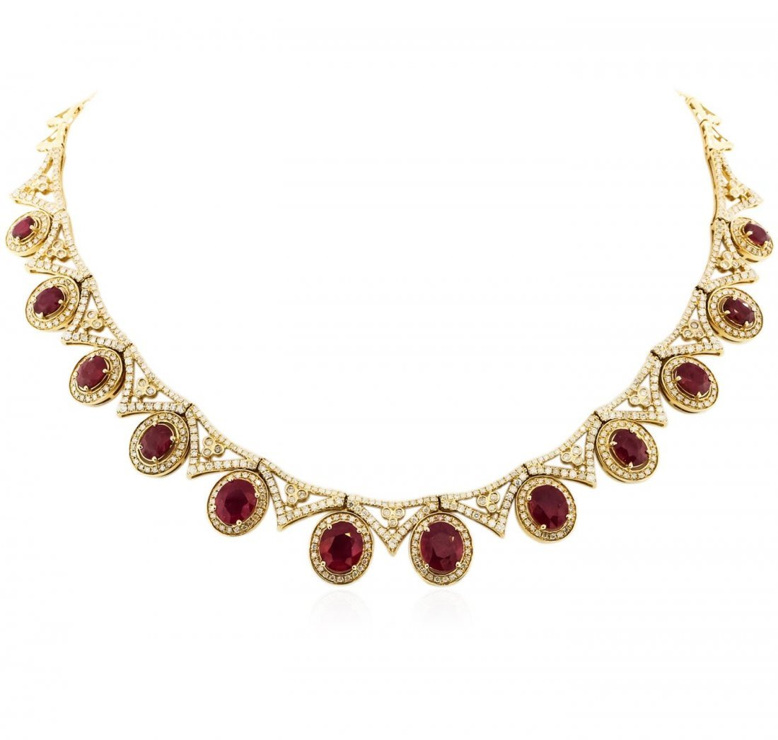 14KT Yellow Gold 16.12 ctw Ruby and Diamond Necklace