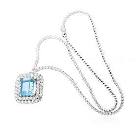 18KT White Gold 16.60 ctw GIA Certified Aquamarine and